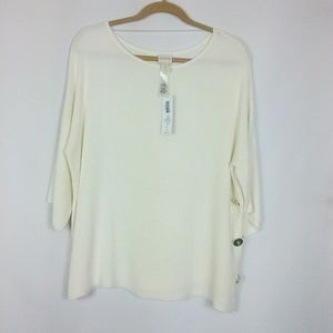 Chico's NWT Cream 3/4 Sleeve Sweater Sz. 1/M/8